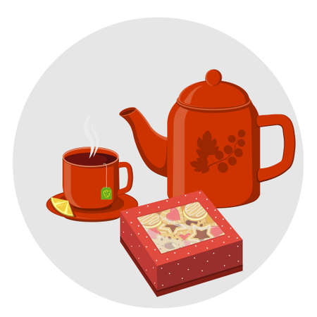 Tea set with cookies in a gift box, color illustration isolated on a white background Ilustrace