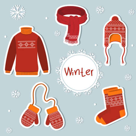 Set of stickers on the theme winter cozy clothing, color illustration