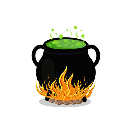 black pot on fire, color illustration isolated on a white background Ilustrace