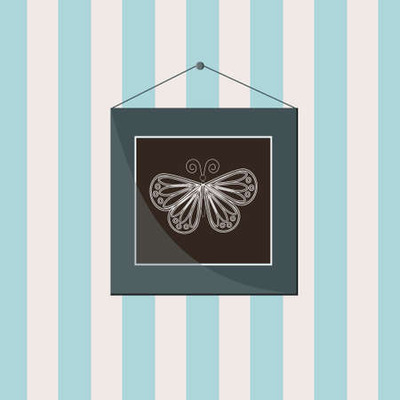 Picture with a butterfly in a frame on the wall, color illustration Ilustrace