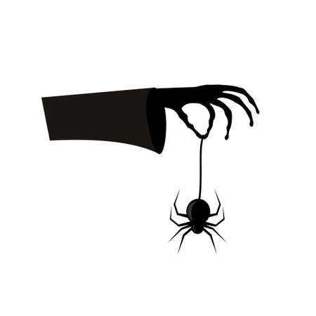 Hand of a witch holding a spider, color isolated illustration on a white background Ilustrace