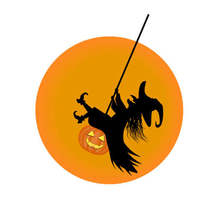 Witch swings on a swing, color isolated illustration on a white background