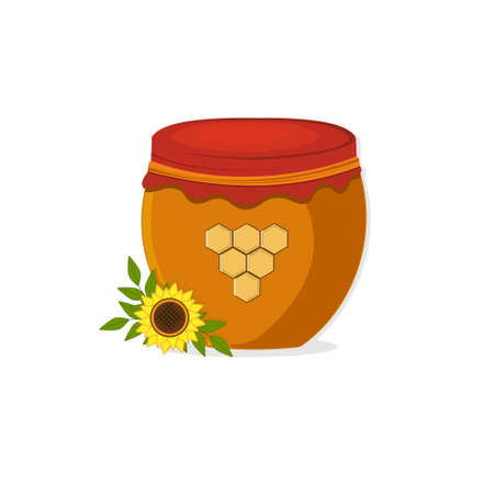 Jar with honey and sunflower isolated on a white background