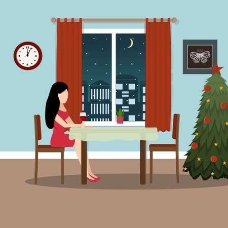 Lonely elegant girl celebrates Christmas sitting at the window with a glass of wine