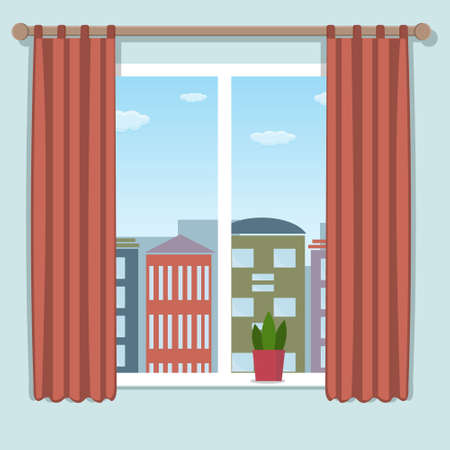 city with a window in the daytime, color illustration Ilustrace