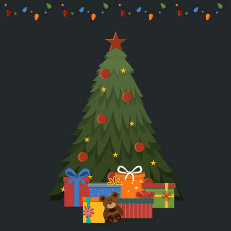 Christmas tree decorated with a garland and gifts to her will, color illustration Ilustrace