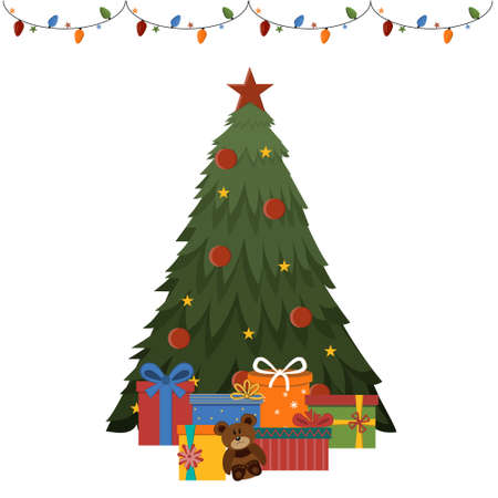 Christmas tree with gifts and garland, isolated on a white background, color illustration Ilustrace
