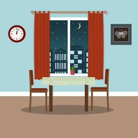 kitchen or hall interior, table and chairs on a window background, color illustration