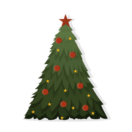 Large decorated Christmas tree in flat style, isolated on a white background, color illustration