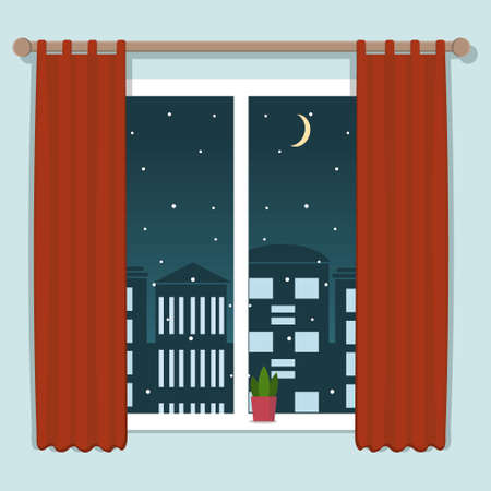 night city view from the window in flat style, isolated on a white background, color  illustration