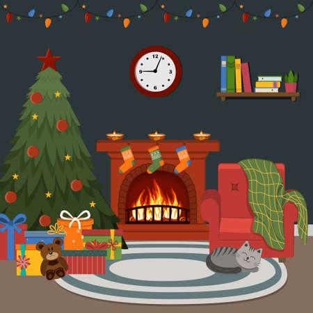Christmas night interior, burning fireplace, Christmas tree and garland, color  illustration