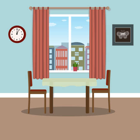 interior table and chairs on the background of the window, behind which the city, flat style, color illustration