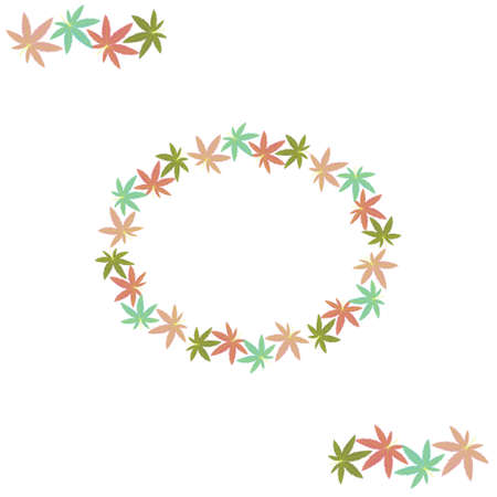 oval frame and border element made of multicolored hemp leaves, color  illustration Ilustrace