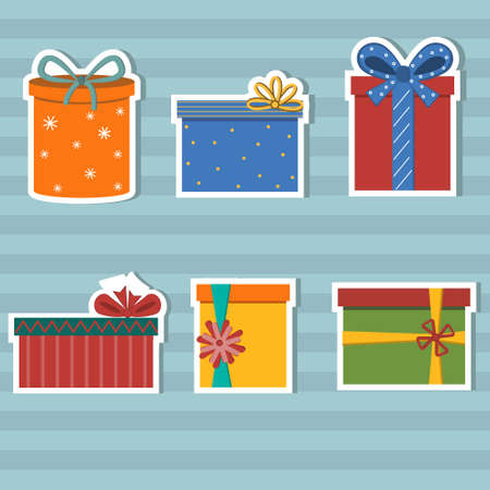 set of stickers decorated multi-colored gifts with bows, color  illustration
