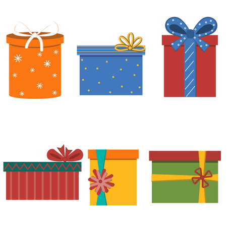 Collection of multi-colored decorated boxes with bows in the flat style, isolated on a white background