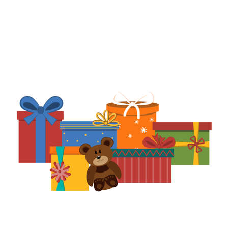 set of isolated multi-colored gifts and toy bear, white background, color  illustration Ilustrace