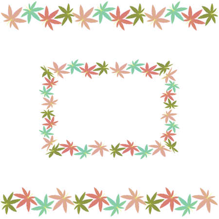square frame and border made of hemp leaves, color  illustration in flat style