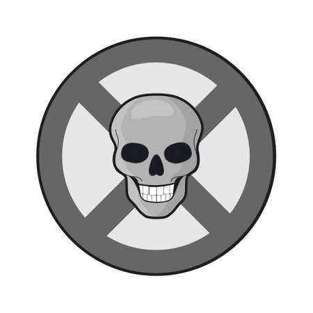 Prohibition sign with human skull, isolated vector illustration in flat style, clipart, design, decoration, icon, sign Ilustrace