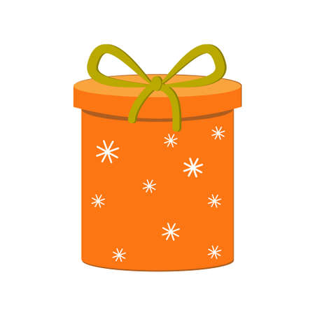 Gift box with orange bow with snowflakes, isolated vector illustration in flat style, clipart, design, decoration, icon, sign
