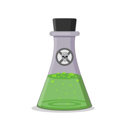 green poison bottle, isolated vector illustration in flat style, clipart, design, decoration, icon, sign Ilustrace