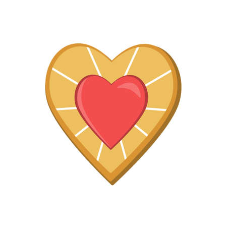 Heart-shaped cookies isolated on a white background, color  illustration