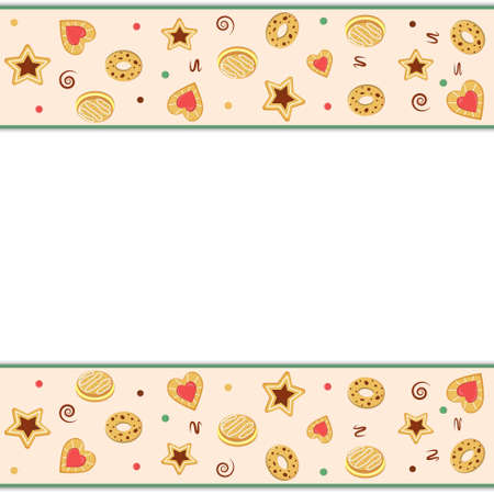 border frame with cookie pattern, color vector illustration in flat style, print, texture, textile, design, decoration, background, Wallpaper Ilustrace