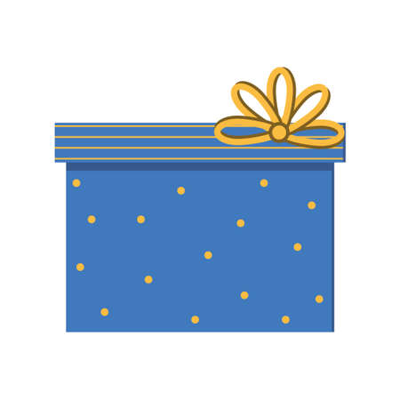 Blue gift wrap with a bow, isolated color vector illustration in flat style, clipart, design, decoration, icon