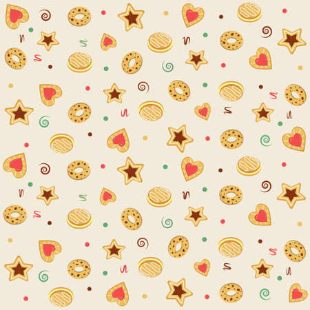 cookie set pattern, color vector illustration in flat style, print, texture, textile, design, decoration, background, Wallpaper