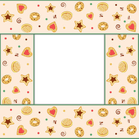 Square frame with cookie pattern, color vector illustration in flat style, clipart, design, decoration