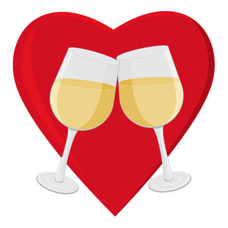 Champagne glasses on a heart background, color isolated vector illustration in flect style, clipart, design, decoration, banner