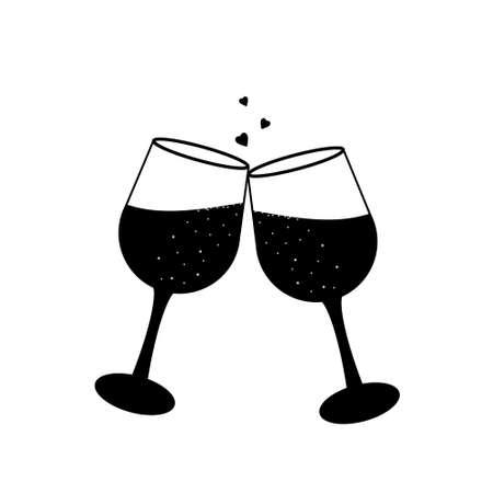 Champagne glasses icon, vector illustration, stencil, sketch, sign, decor, decoration