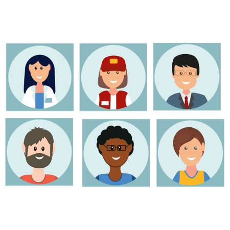 People icons in flat style, color vector illustration, clipart, design, decoration, banner
