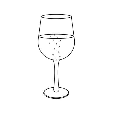 Glass with alcohol, black outline white background, vector illustration, clipart, icon, design, decoration