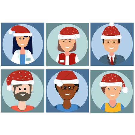 icons of people in new year hats in flect style, color vector illustration, clipart, design, decoration, banner