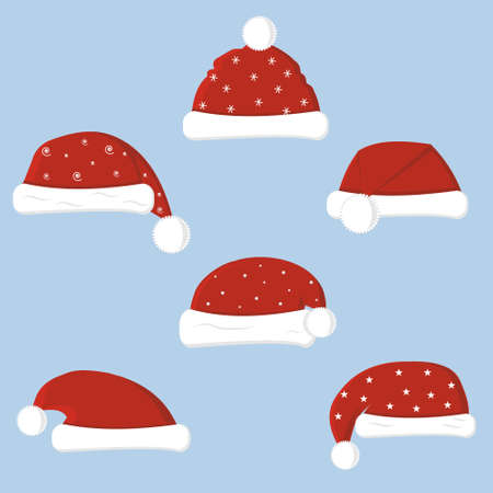 Set of Christmas hats in flat style isolated on white background, color vector illustration, clipart, design, decoration, icon, sign