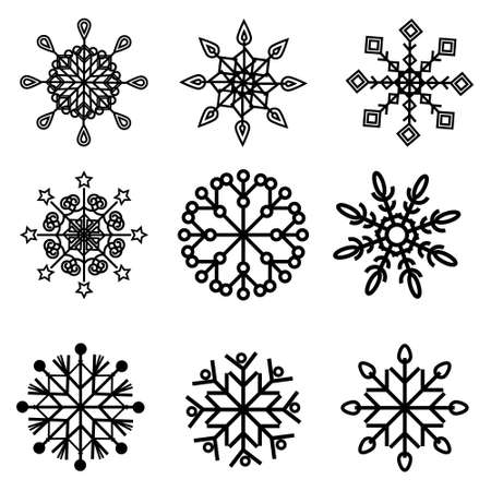 set of snowflakes black outline, vector illustration on a white background, clipart, design, design, icon Ilustrace