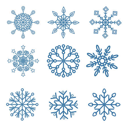 Set of isolated snowflakes with a blue outline on a white background, vector illustration, clipart, design, decoration