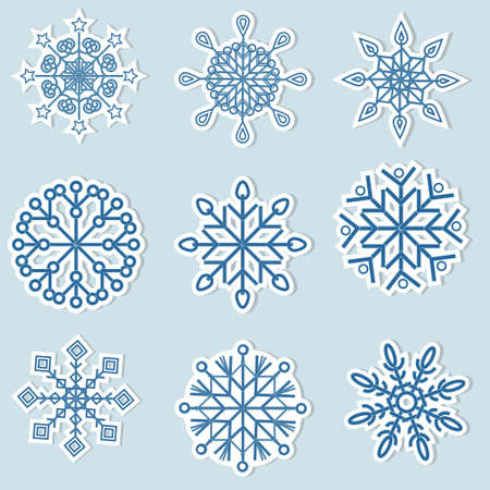 Set of blue snowflake stickers, color vector illustration isolated on a white background, clipart, design, decoration