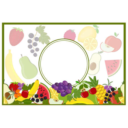 greeting card with a round frame on a fruit background, color vector illustration, design, decoration, clipart