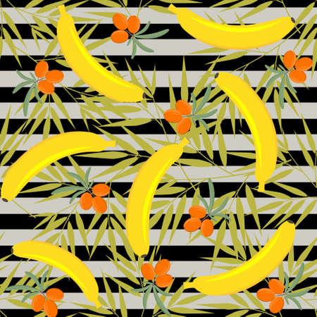 banana and sea buckthorn fruit pattern, color vector illustration, textile, texture, design