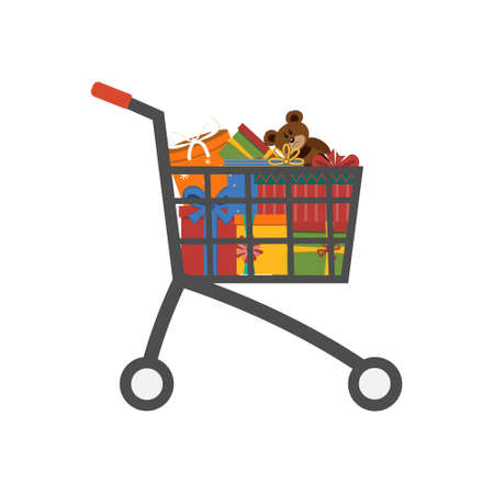 Gifts in a shopping cart, color vector illustration isolated on a white background, clipart, design, decoration Ilustrace