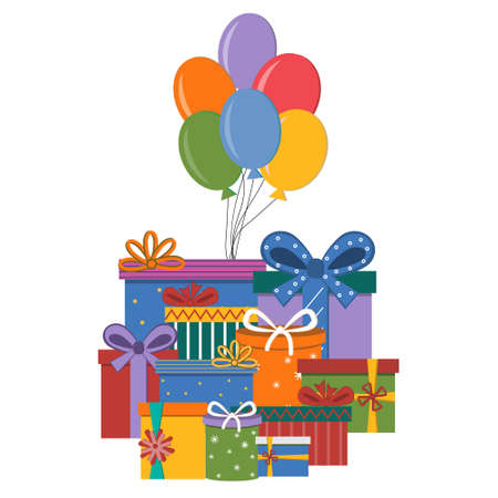 Set of gifts in different packaging boxes with bows and balloons, color vector illustration isolated on a white background, clipart, design, decoration