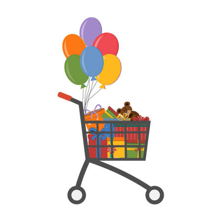 shopping cart with gifts in different packaging boxes with bows and balloons, color vector illustration isolated on a white background, clipart, design, decoration Ilustrace