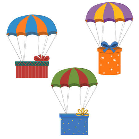 set of multi-colored gifts on a parachute isolated on a white background, color vector illustration, clipart, design, decoration