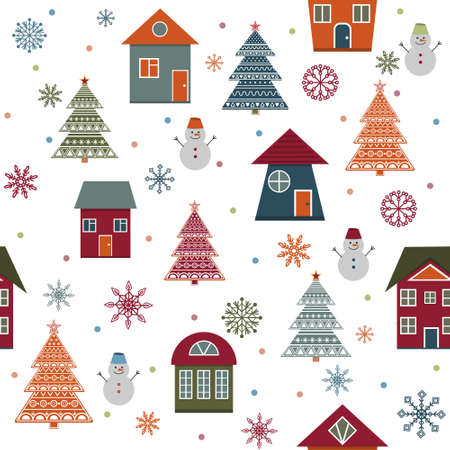 Christmas winter pattern with houses, Christmas trees, snowmen and snowflakes in flat style, color illustration, white background, print, texture, textiles, design, decoration, background, Wall Vetores