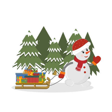 Snowman drives a sled with gifts past a forest of Christmas trees, color isolated vector illustration in flat style, postcard, clipart, design, decoration, scrapbooking, applique