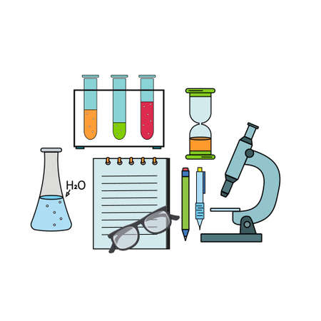 Medical laboratory chemistry kit, color vector illustration in flat style, banner, poster, clipart, design, decoration 矢量图像