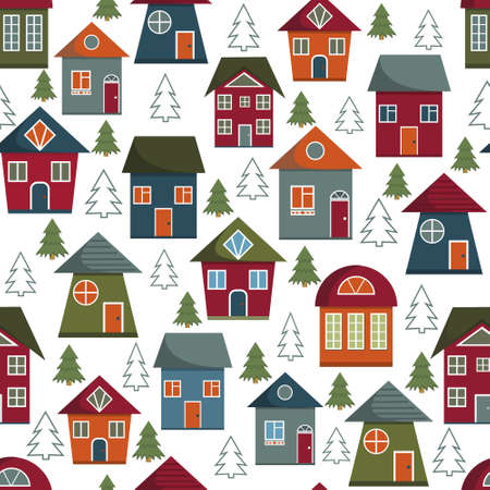 Pattern with the image of multi-colored houses and Christmas trees on a white background, color vector illustration, print, texture, textiles, design, decoration, background, Wallpaper
