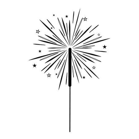 Holiday Sparkler, black outline white background, isolated, vector illustration, clipart, design, decoration, icon Vektorové ilustrace