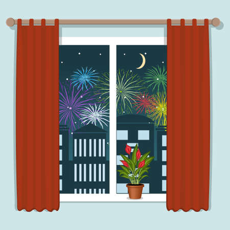 Salute over the city view from the window, color vector illustration in flat style, poster, banner, clipart, design, decoration